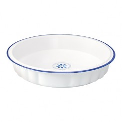 GreenGate Tærtefad - Pie Dish - Creme with blue rim
