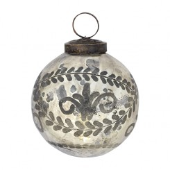 GreenGate Julekugle - Antique Anastacia silver small