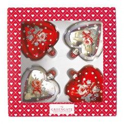 GreenGate Julekugler/hjerter - Abelone red and silver -  4 stk i box